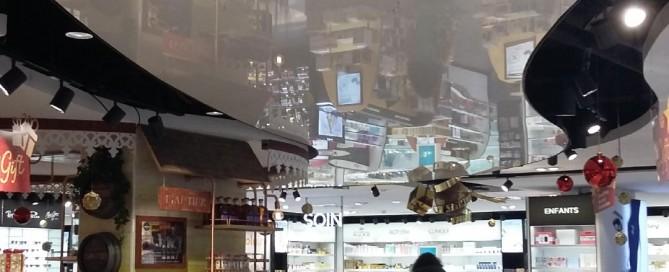 Plafond tendu laqué à l'aéroport de St Denis à la Réunion